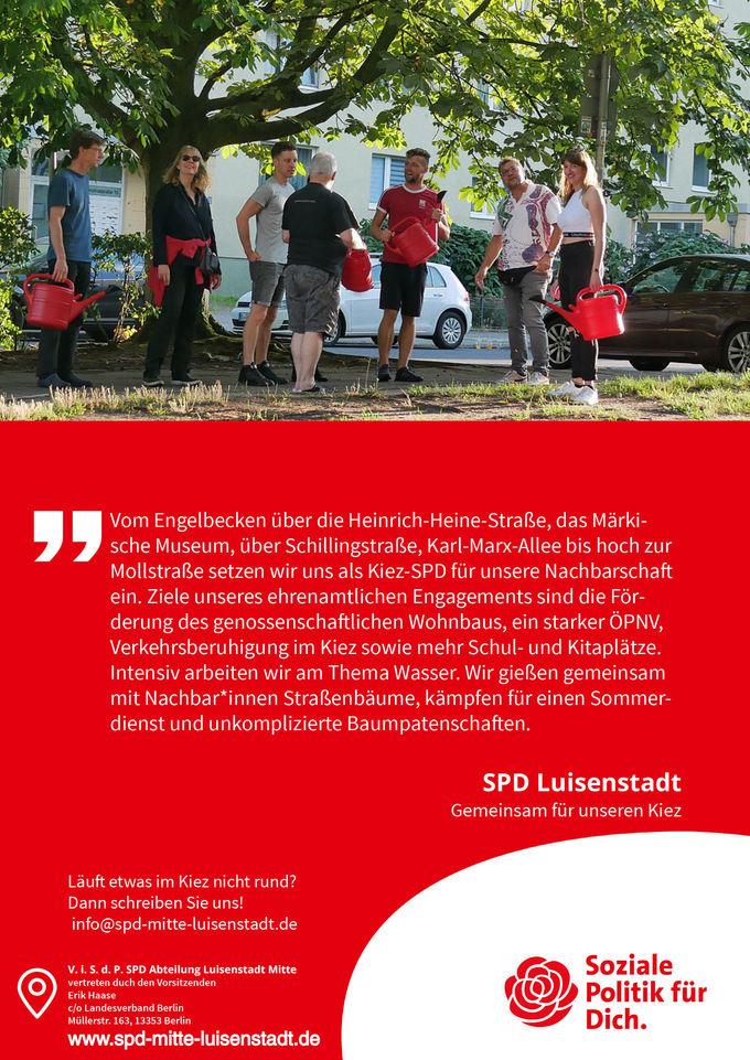 Bäume gießen mit der SPD Mitte-Luisenstadt