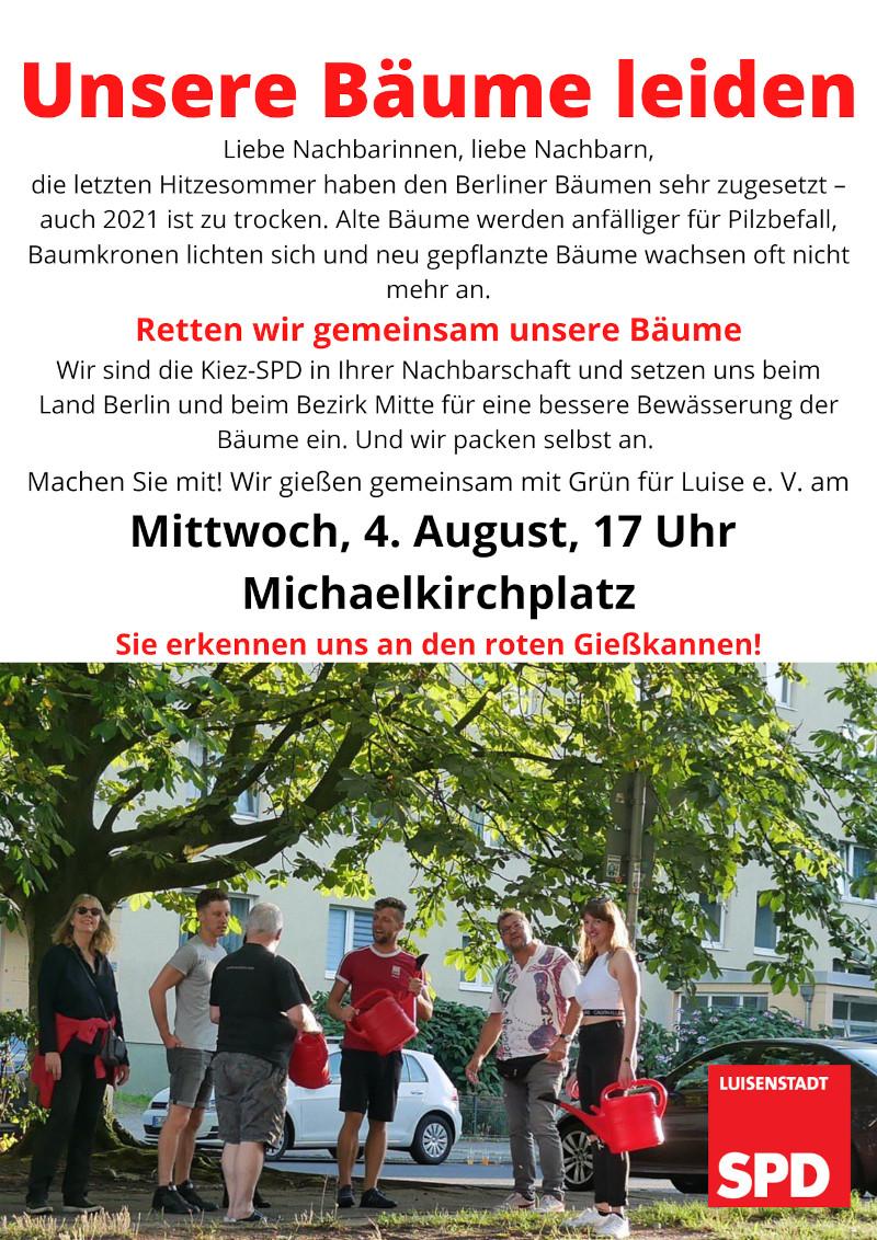 Bäume gießen - am 4. August am Michaelkirchplatz