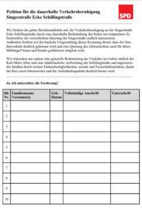Petition Verkehrsberuhigung Singerstraße